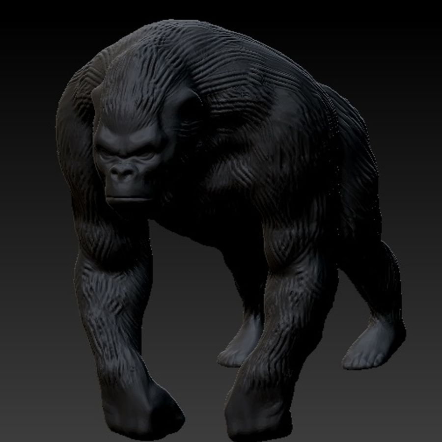 Black Gorilla HiPoly royalty-free 3d model - Preview no. 5