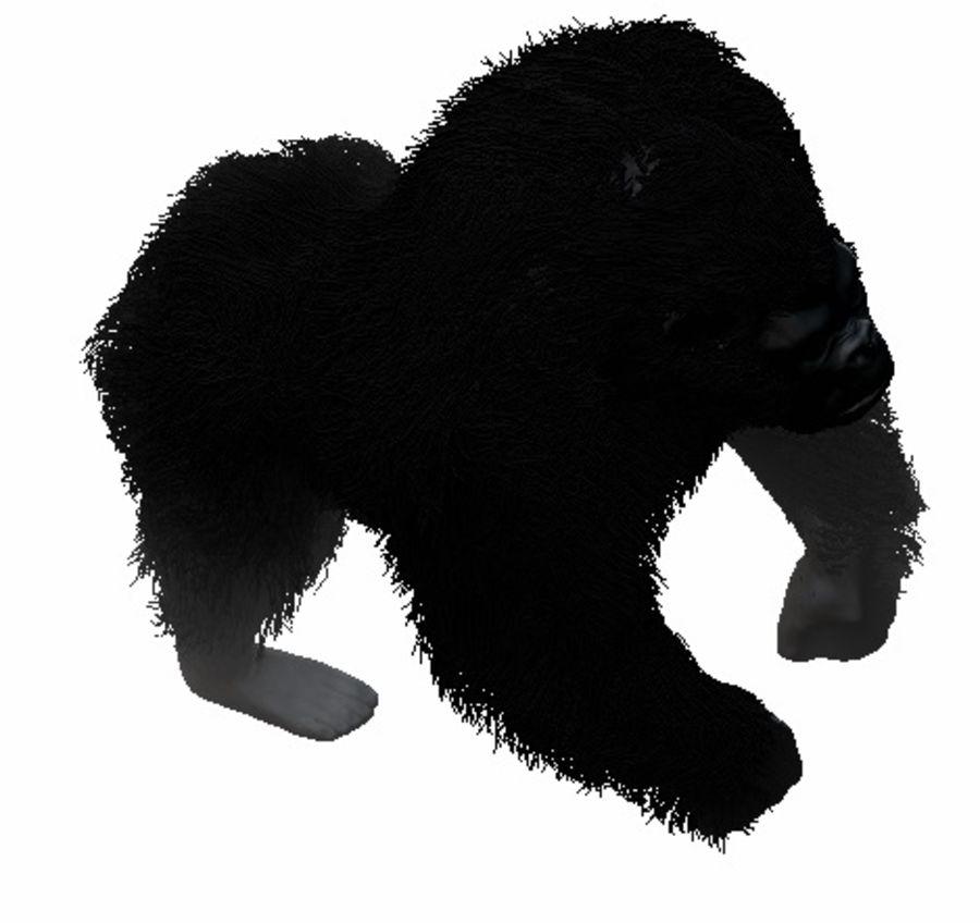 Black Gorilla HiPoly royalty-free 3d model - Preview no. 2