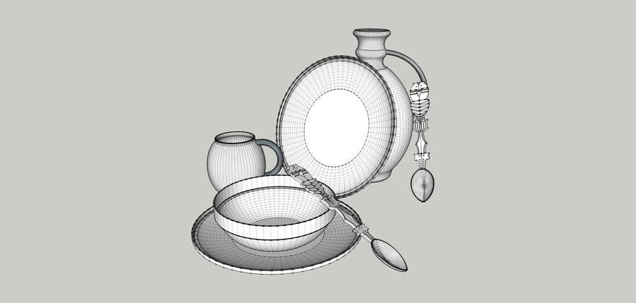spoon & plate royalty-free 3d model - Preview no. 8