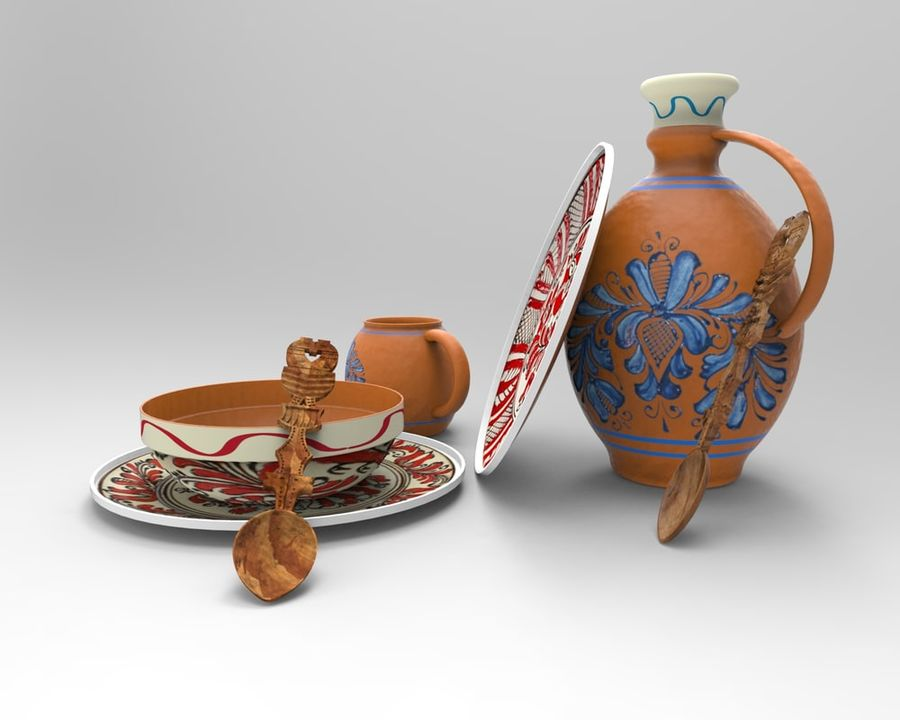 spoon & plate royalty-free 3d model - Preview no. 2