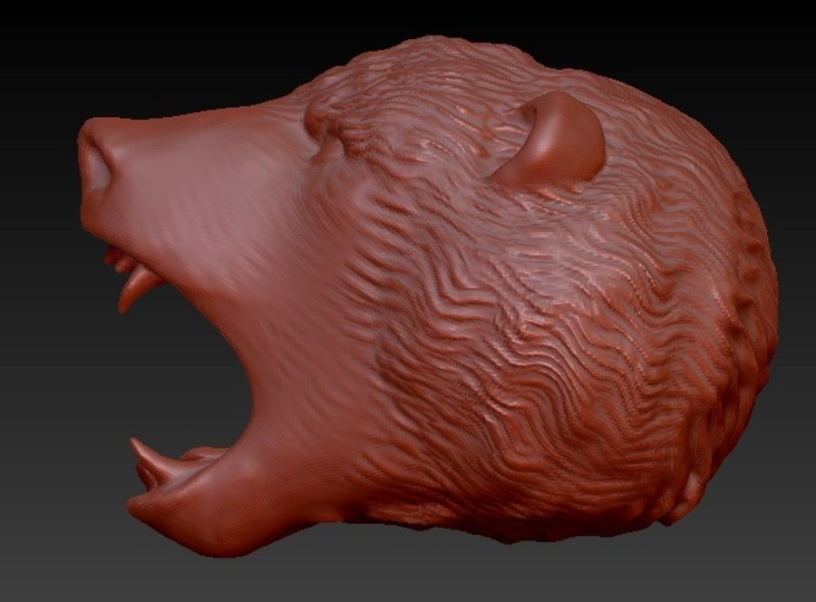 Angry bear head royalty-free 3d model - Preview no. 4