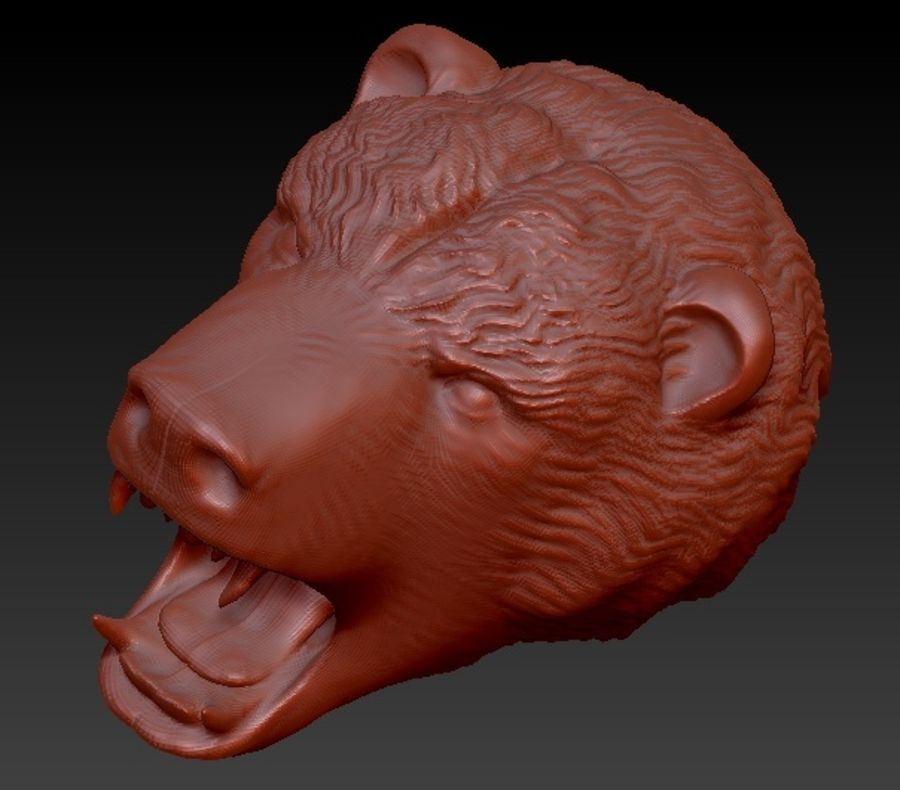 Angry bear head royalty-free 3d model - Preview no. 5