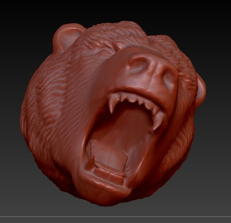 Angry bear head royalty-free 3d model - Preview no. 1