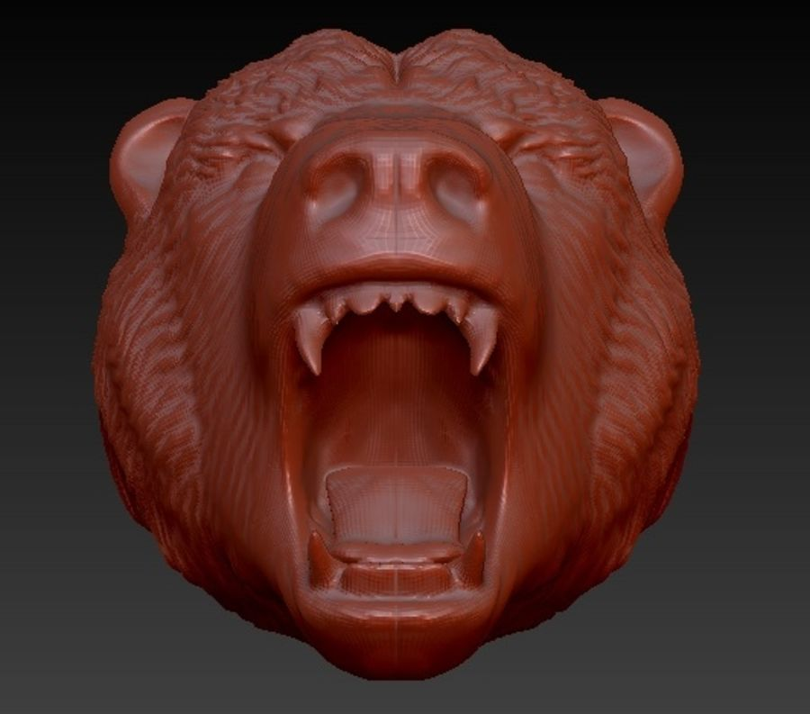 Angry bear head royalty-free 3d model - Preview no. 3