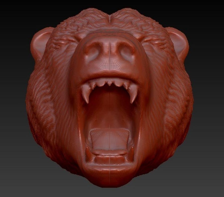 怒っているクマの頭 royalty-free 3d model - Preview no. 3