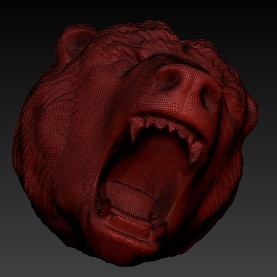 Angry bear head royalty-free 3d model - Preview no. 2