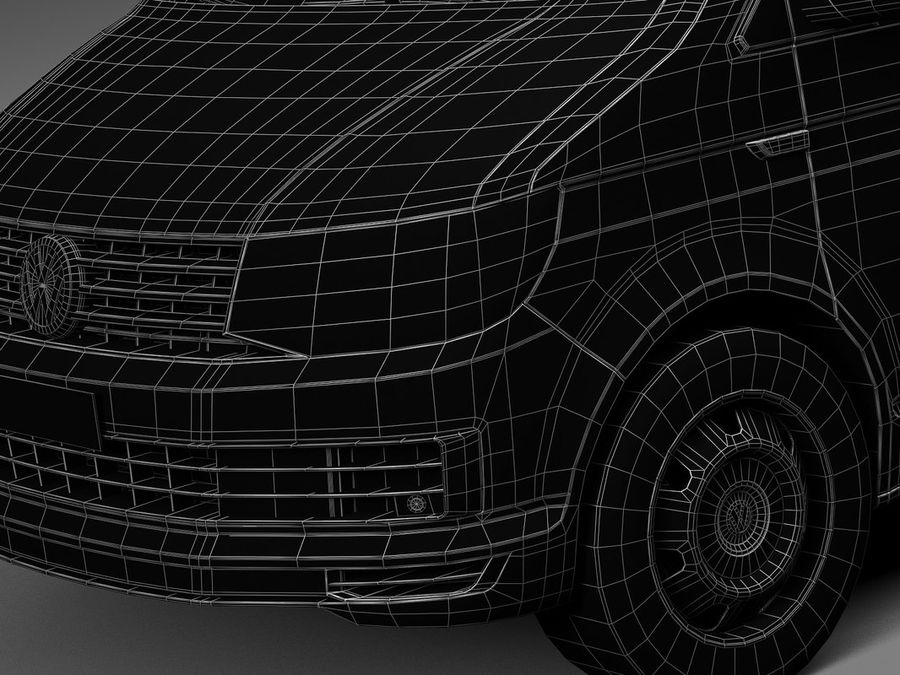HQ LowPoly Volkswagen Transporter Panel Van T6 2016 royalty-free 3d model - Preview no. 14