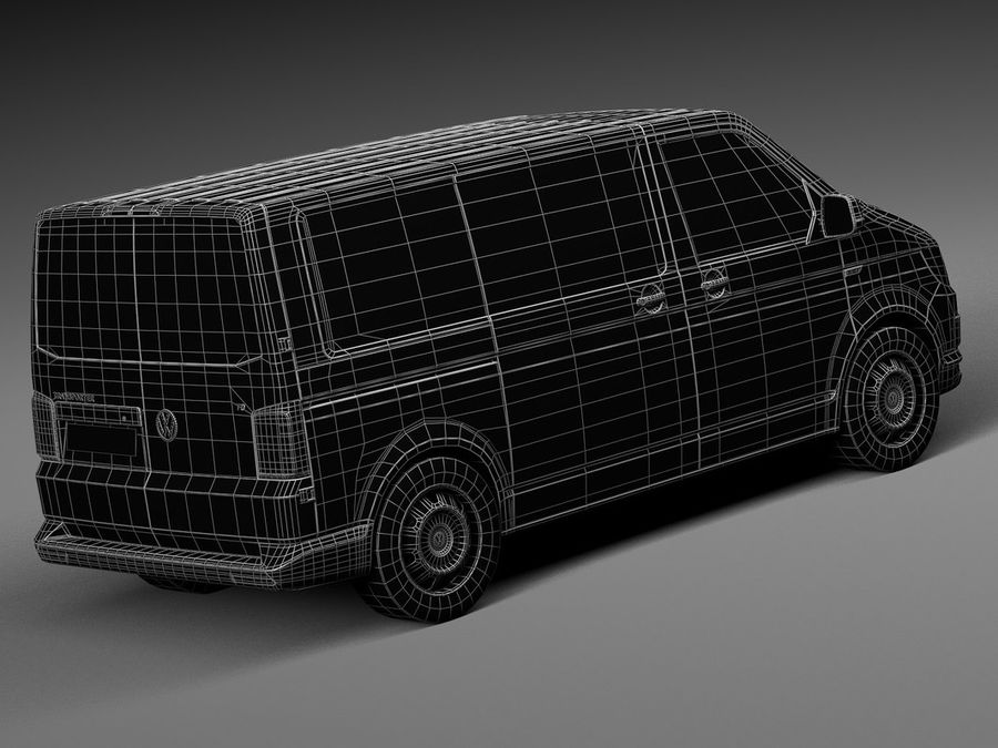 HQ LowPoly Volkswagen Transporter Panel Van T6 2016 royalty-free 3d model - Preview no. 16