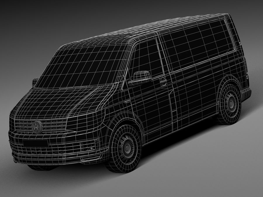 HQ LowPoly Volkswagen Transporter Panel Van T6 2016 royalty-free 3d model - Preview no. 13