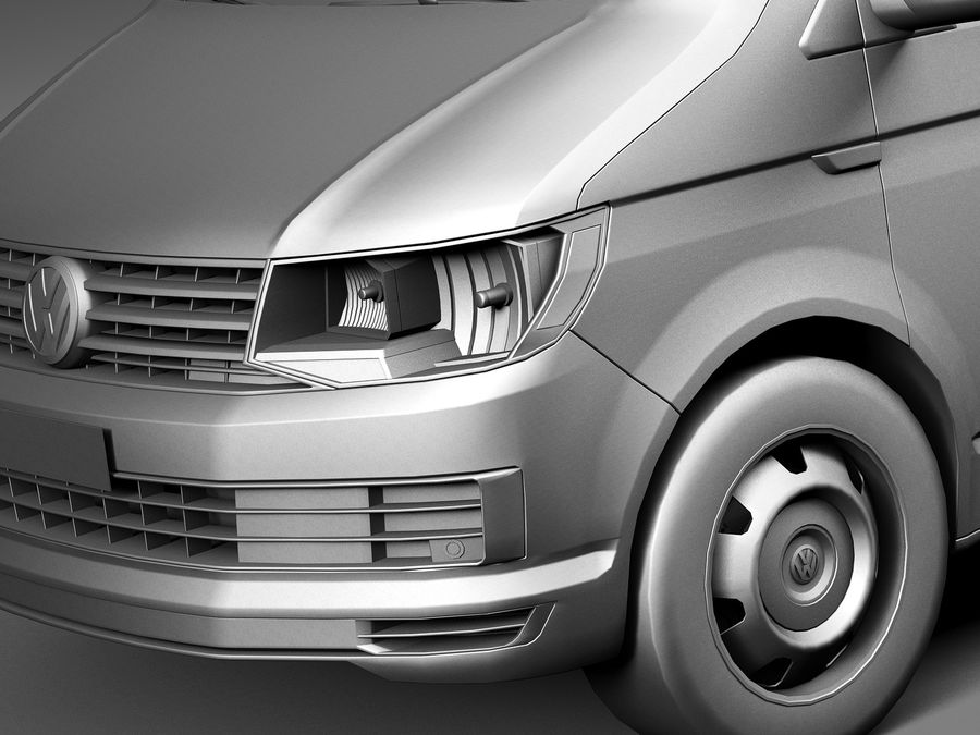 HQ LowPoly Volkswagen Transporter Panel Van T6 2016 royalty-free 3d model - Preview no. 10