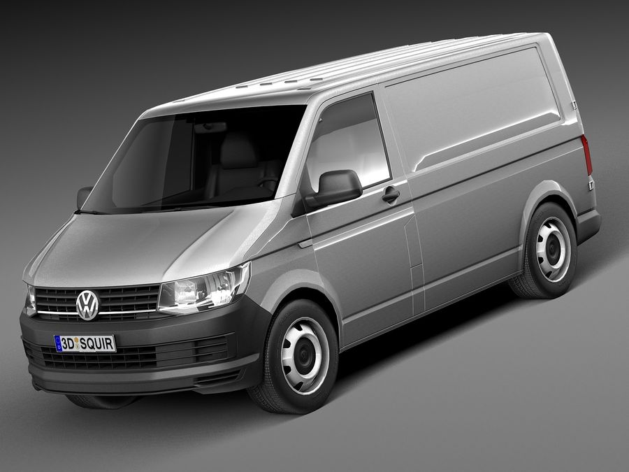 HQ LowPoly Volkswagen Transporter Panel Van T6 2016 royalty-free 3d model - Preview no. 1