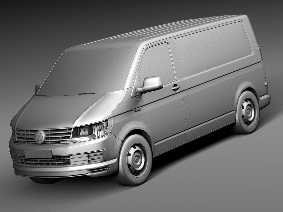 HQ LowPoly Volkswagen Transporter Panel Van T6 2016 royalty-free 3d model - Preview no. 9