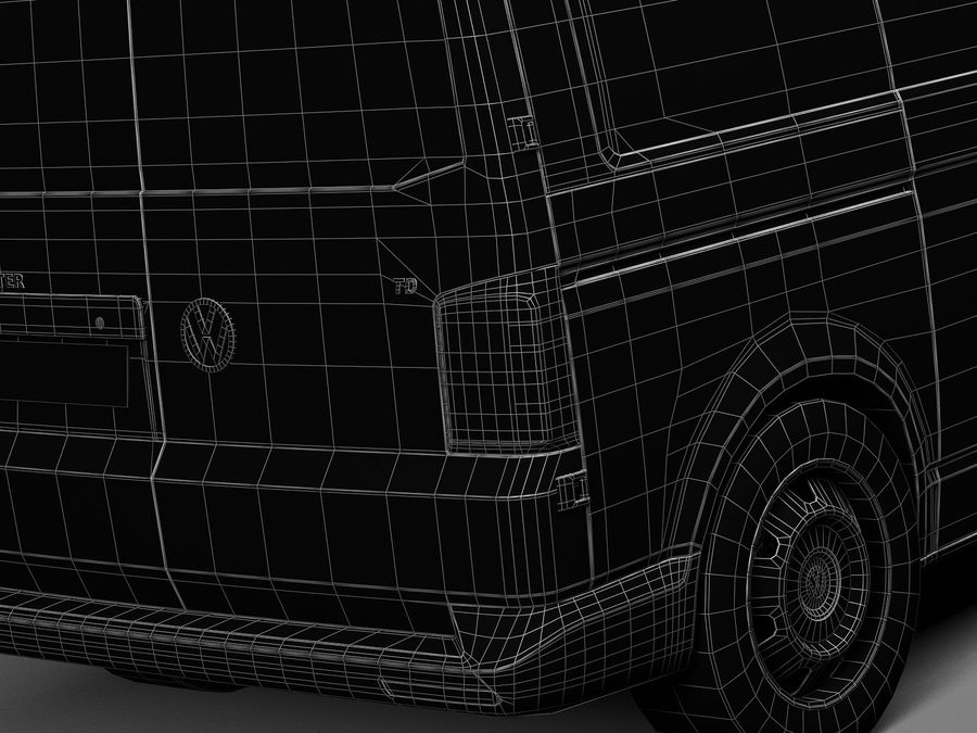 HQ LowPoly Volkswagen Transporter Panel Van T6 2016 royalty-free 3d model - Preview no. 15