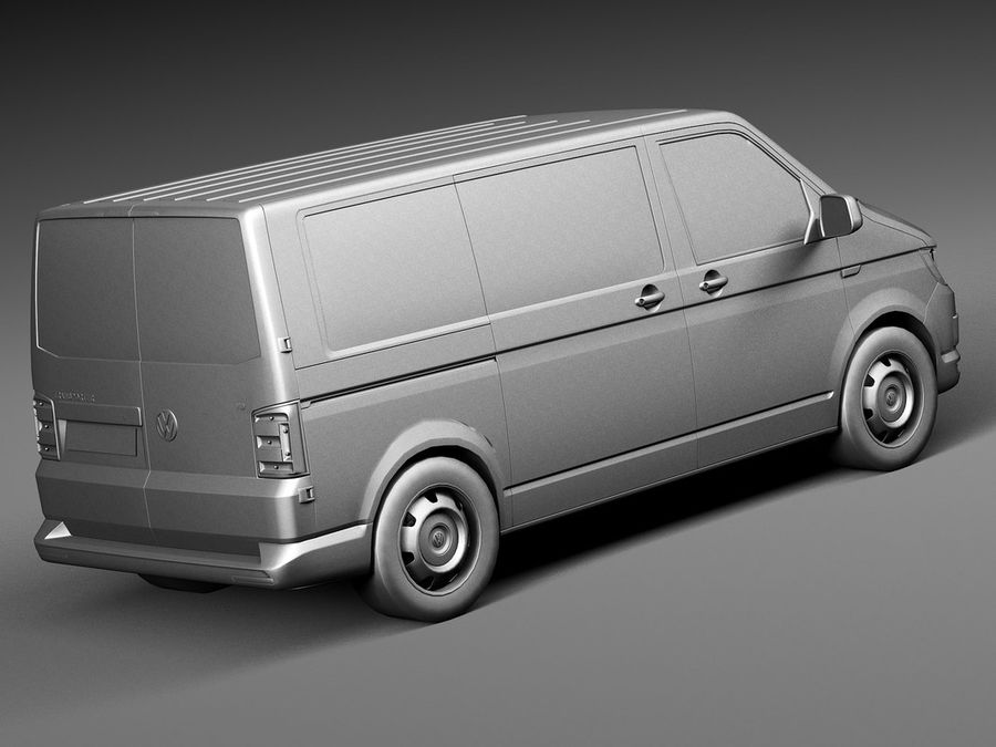 HQ LowPoly Volkswagen Transporter Panel Van T6 2016 royalty-free 3d model - Preview no. 12