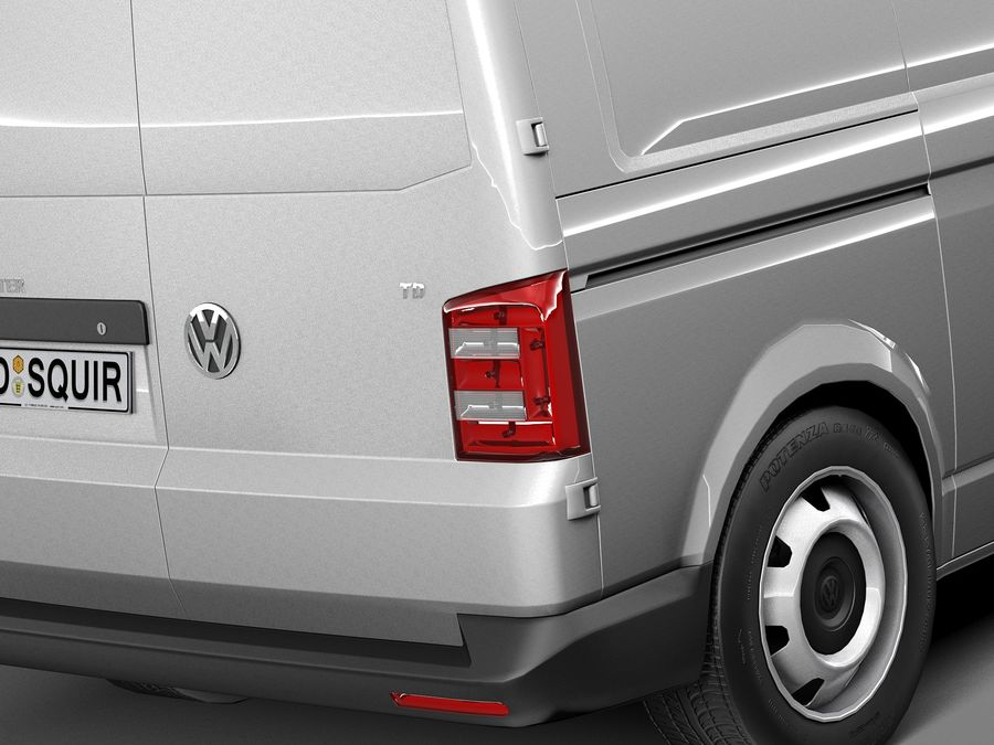 HQ LowPoly Volkswagen Transporter Panel Van T6 2016 royalty-free 3d model - Preview no. 4