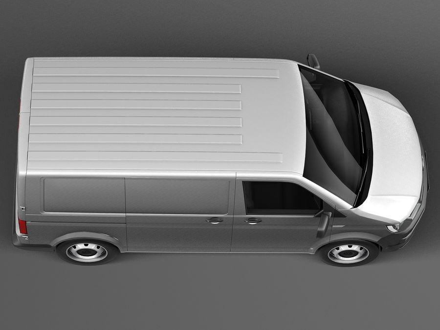 HQ LowPoly Volkswagen Transporter Panel Van T6 2016 royalty-free 3d model - Preview no. 8
