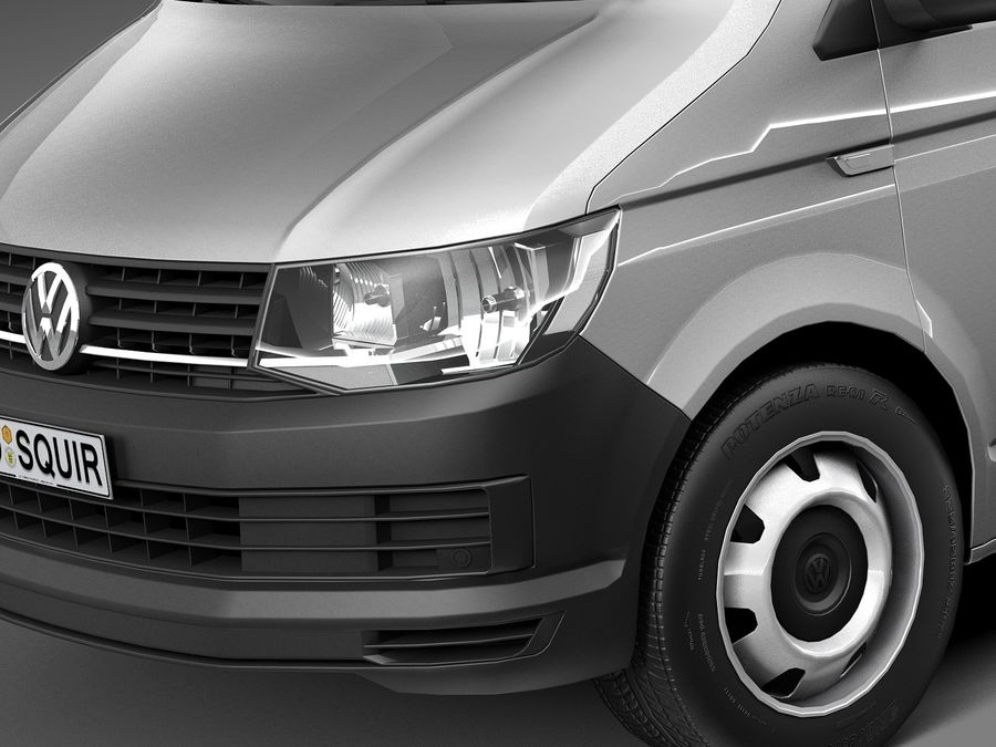 HQ LowPoly Volkswagen Transporter Panel Van T6 2016 royalty-free 3d model - Preview no. 3