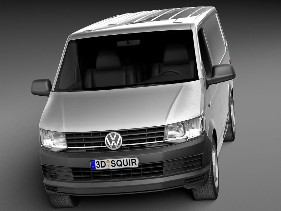 HQ LowPoly Volkswagen Transporter Panel Van T6 2016 royalty-free 3d model - Preview no. 2