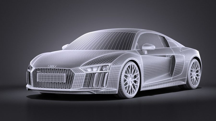 Audi R8 V10 2017 royalty-free 3d model - Preview no. 9