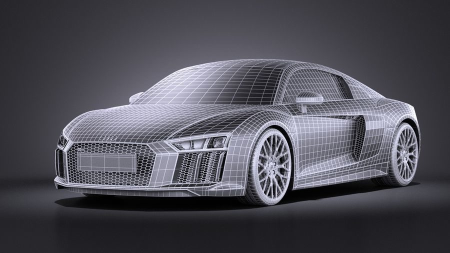 Audi R8 V10 2017 royalty-free 3d model - Preview no. 11