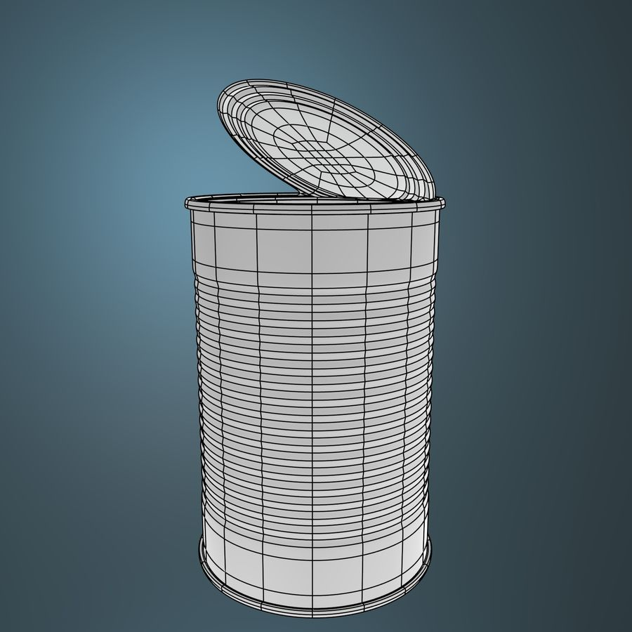 open empty food can #3 royalty-free 3d model - Preview no. 3