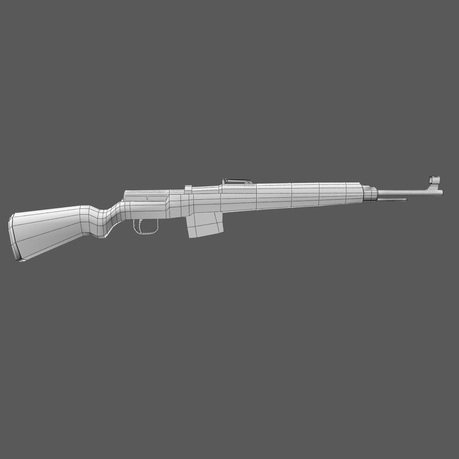 Gewehr 43 - Low Poly Authentic WW2 Weapon rifle gun royalty-free 3d model - Preview no. 5
