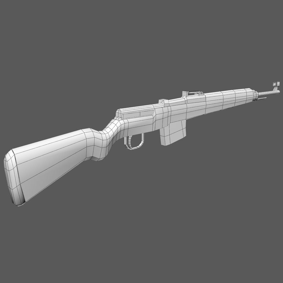 Gewehr 43 - Low Poly Authentic WW2 Weapon rifle gun royalty-free 3d model - Preview no. 7