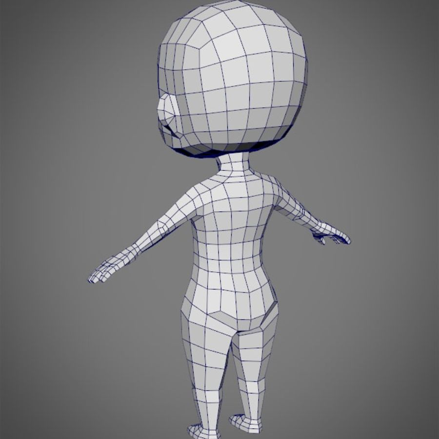 Female SD Character Base Low Poly Model royalty-free 3d model - Preview no. 2