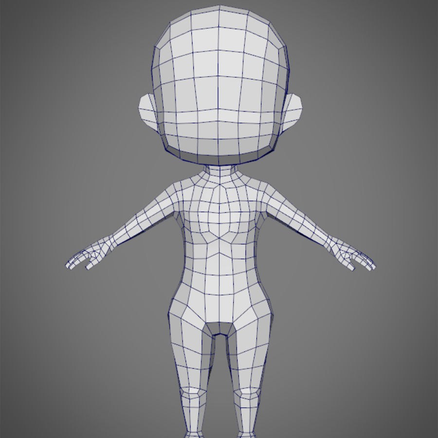 Female SD Character Base Low Poly Model royalty-free 3d model - Preview no. 3