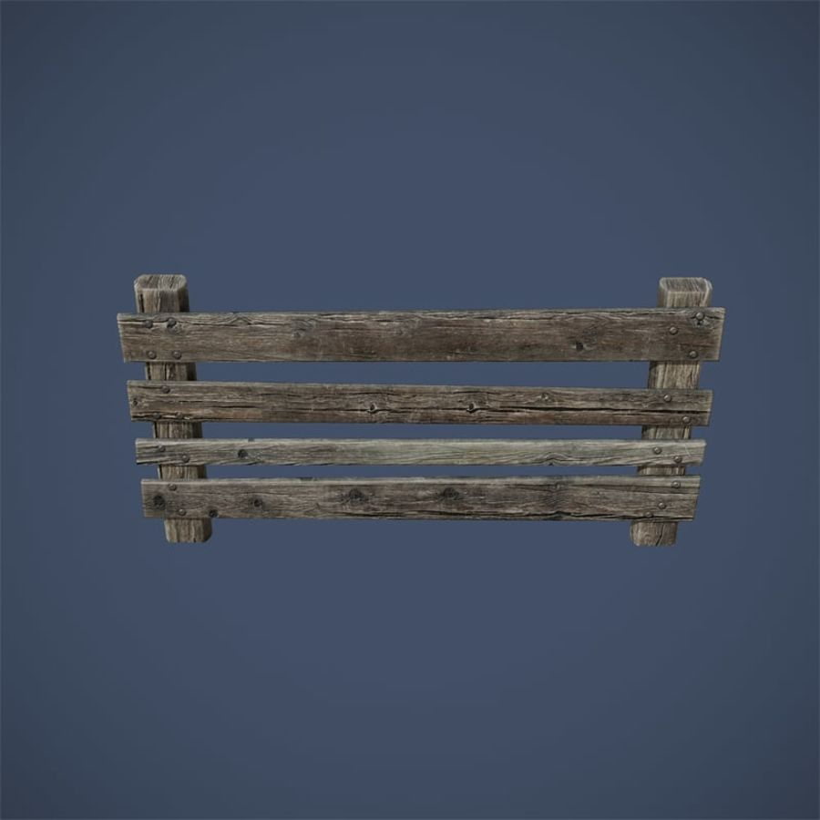 Low Poly Fence royalty-free 3d model - Preview no. 9