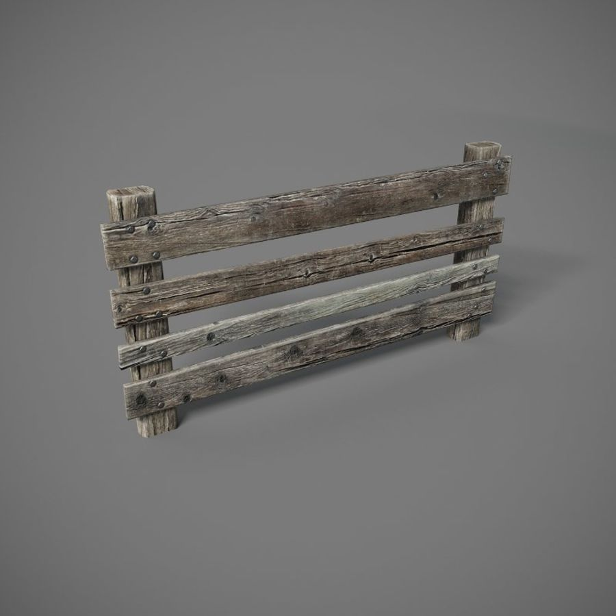 Low Poly Fence royalty-free 3d model - Preview no. 1
