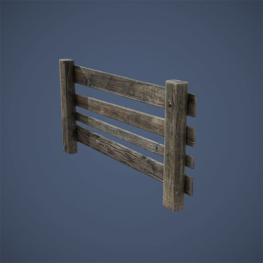 Low Poly Fence royalty-free 3d model - Preview no. 8