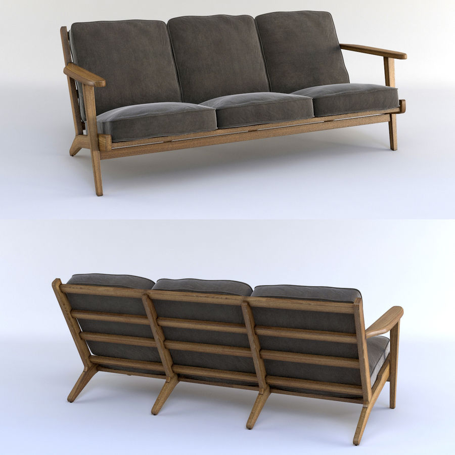 Brooks Long Chair (Brooks Sofa) royalty-free 3d model - Preview no. 1