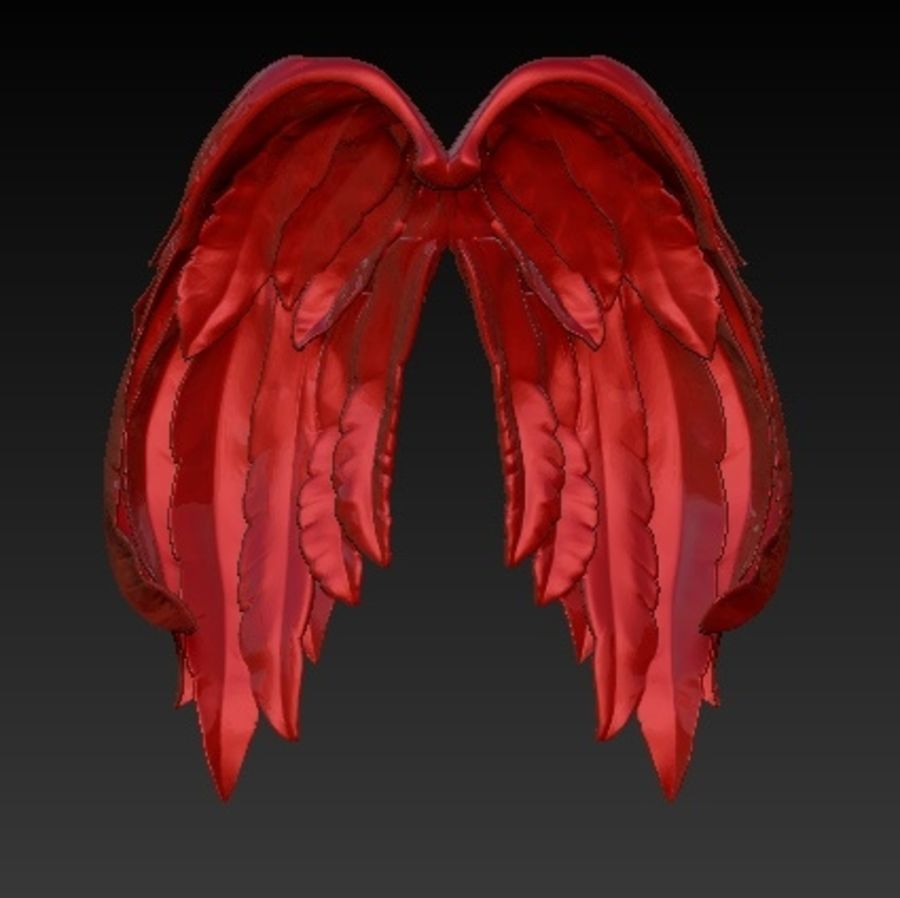 Angel wings royalty-free 3d model - Preview no. 2