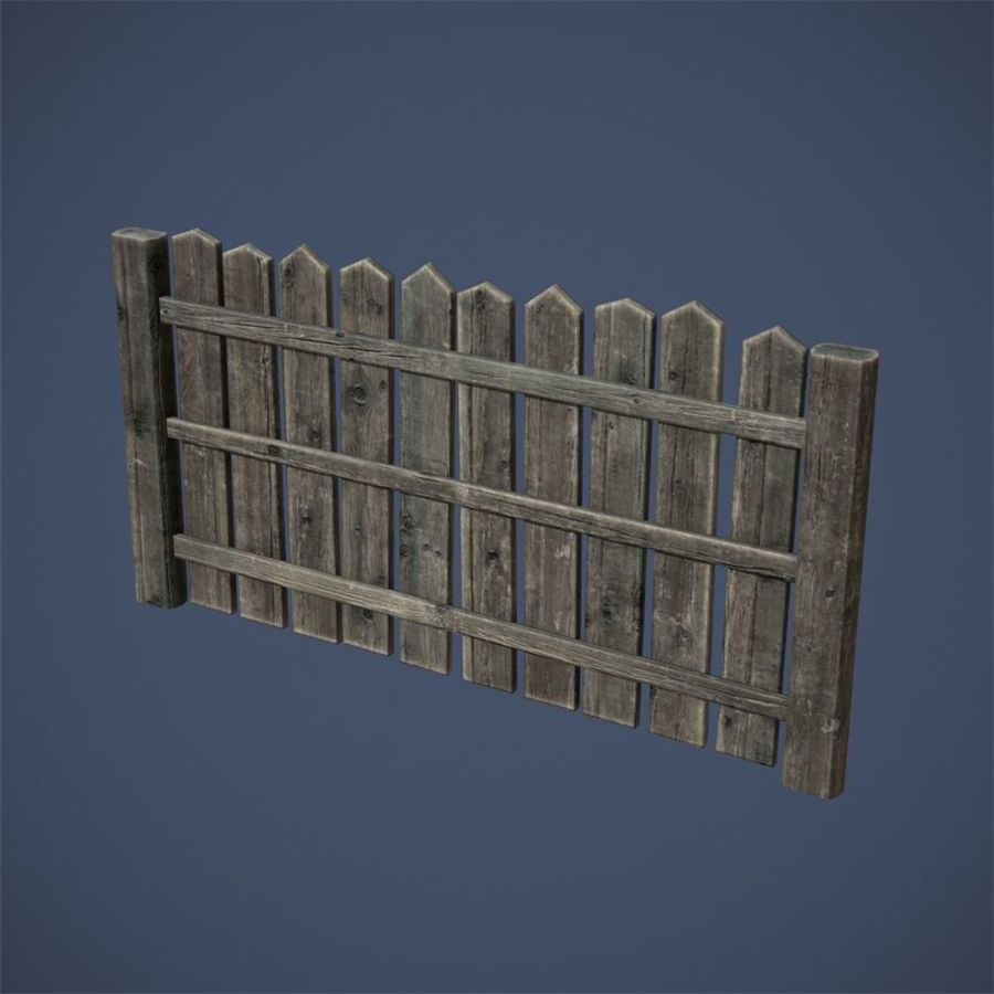 Old Fence royalty-free 3d model - Preview no. 10
