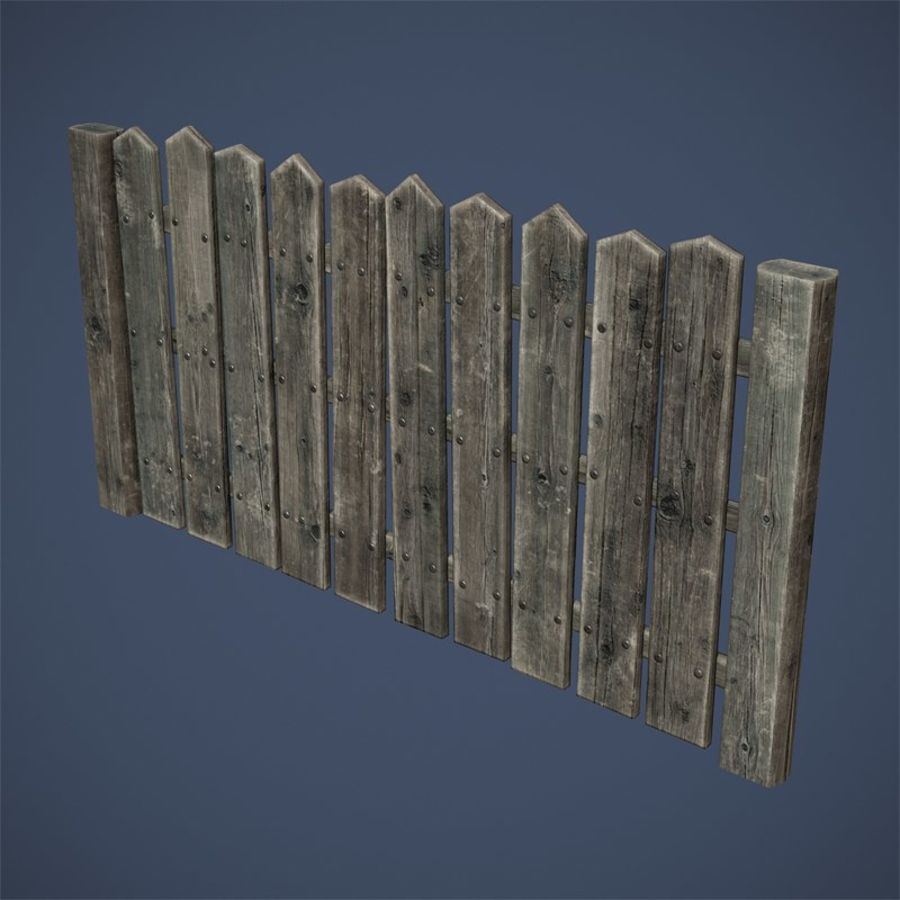 Old Fence royalty-free 3d model - Preview no. 8