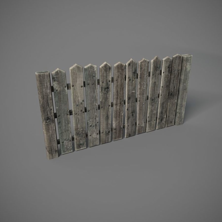 Old Fence royalty-free 3d model - Preview no. 1