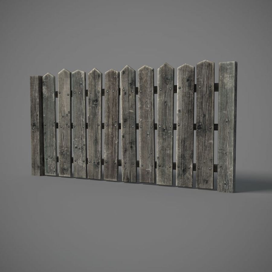 Old Fence royalty-free 3d model - Preview no. 2