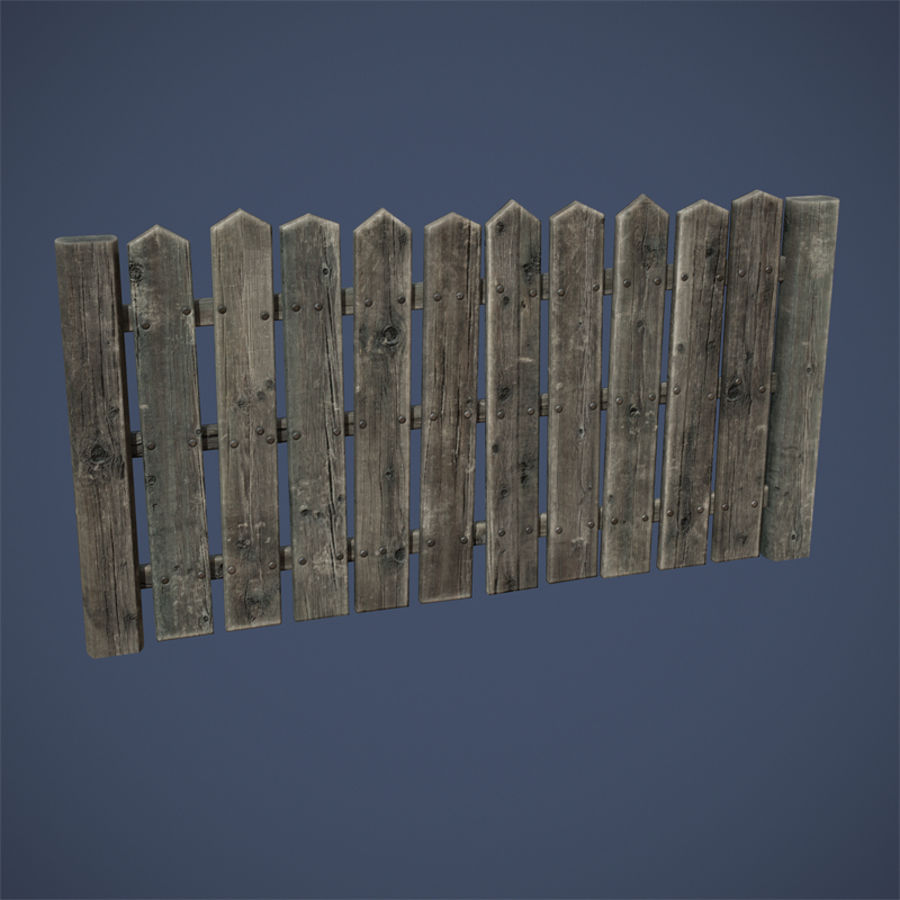 Old Fence royalty-free 3d model - Preview no. 7