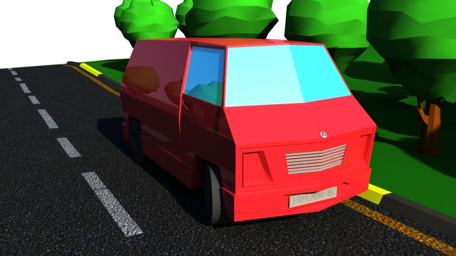 Low Poly Van royalty-free 3d model - Preview no. 5