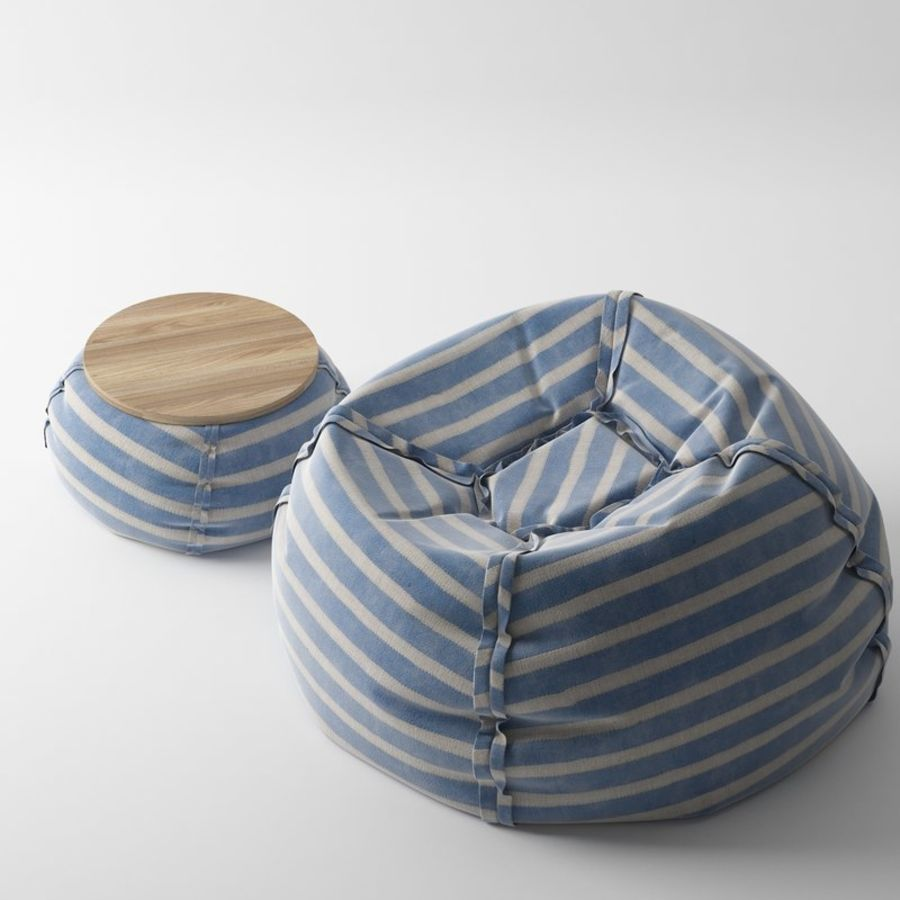Pouf Beanbag With Table Royalty Free 3d Model   Preview No. 1