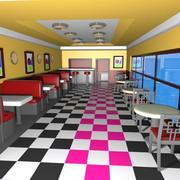 Cartoon Burger Restaurant Interior 3d model