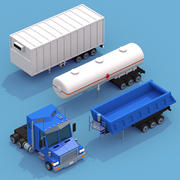 Truck with three trailers 3d model