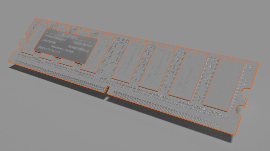 Ram DDR1 royalty-free 3d model - Preview no. 3