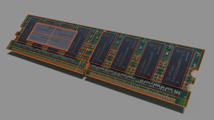 Ram DDR1 royalty-free 3d model - Preview no. 2