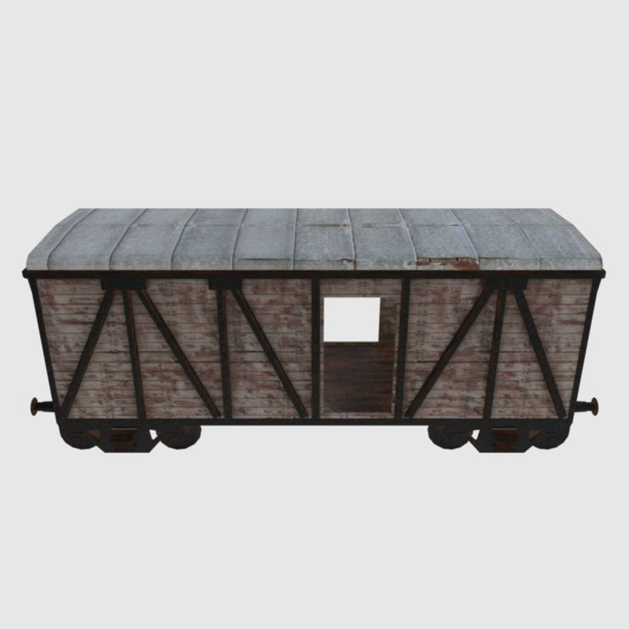 Cargo Train Wagon royalty-free 3d model - Preview no. 3
