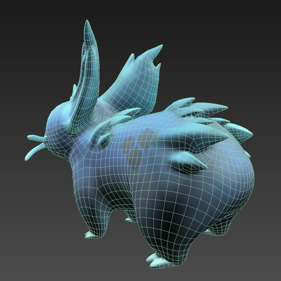 Pokemon nidorina lowpoly pbr rigged plus walkcycle royalty-free 3d model - Preview no. 5