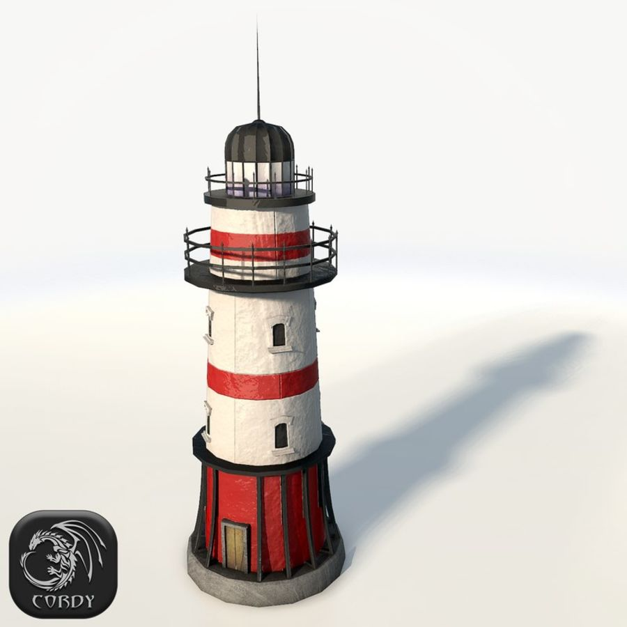 Lighthouse low poly royalty-free 3d model - Preview no. 1