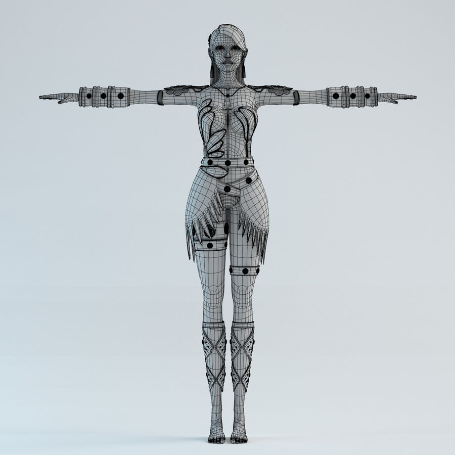 modelo de mulher royalty-free 3d model - Preview no. 8