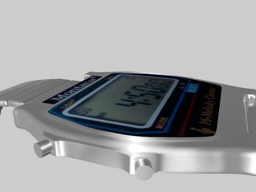 viejo reloj electrónico royalty-free modelo 3d - Preview no. 3